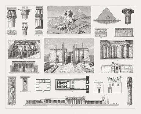 Egyptian architecture, wood engravings, published in 1897