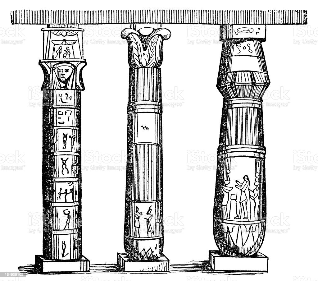 Egyptian columns stock vector art more images of 1876 for Architecture design company in egypt