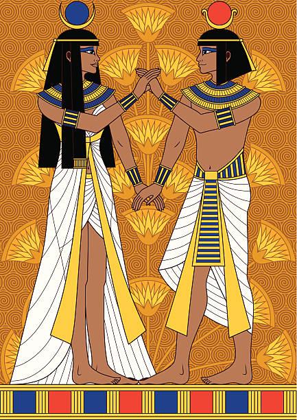 ägyptische paar - paararmbänder stock-grafiken, -clipart, -cartoons und -symbole