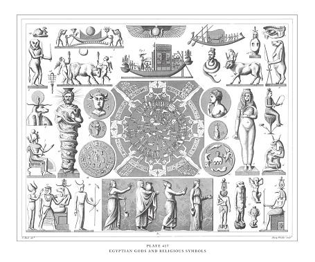 Egyptian Gods and Religious Symbols Engraving Antique Illustration, Published 1851