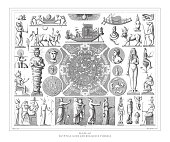 Egyptian Gods and Religious Symbols Engraving Antique Illustration, Published 1851. Source: Original edition from my own archives. Copyright has expired on this artwork. Digitally restored.