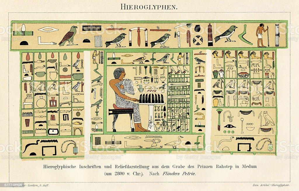 Egyptian hieroglyph 1896 vector art illustration