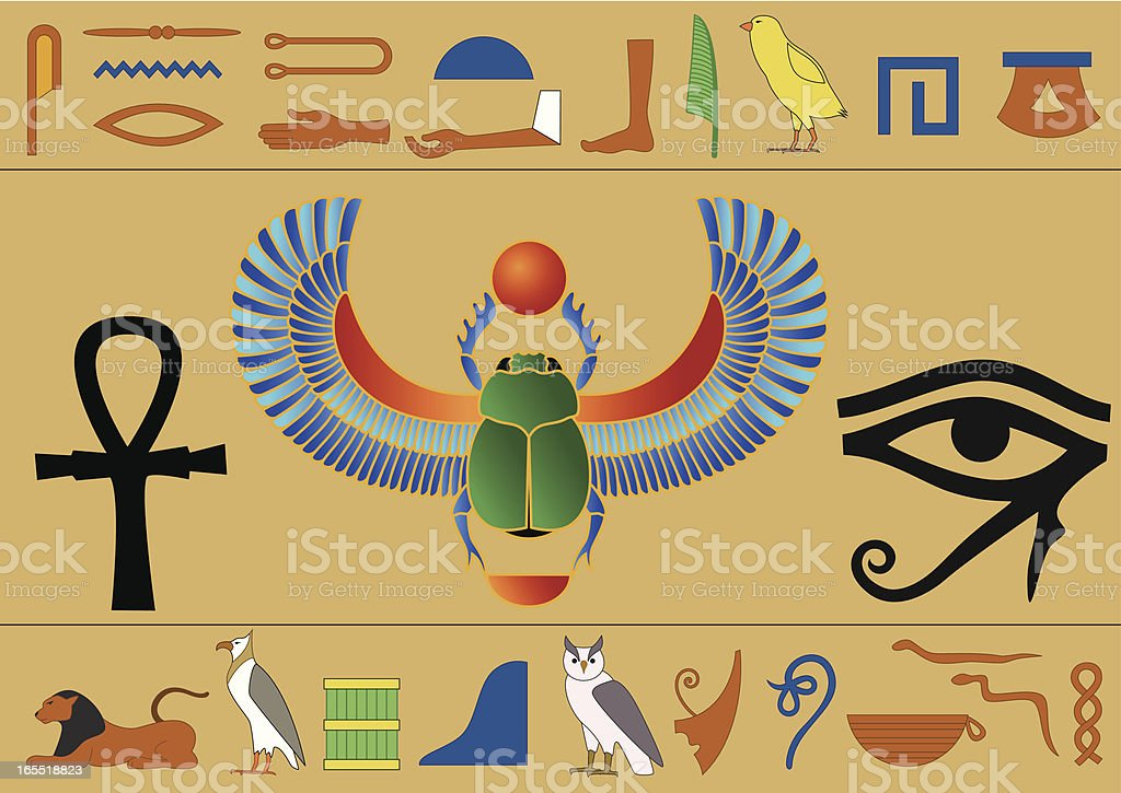 Egyptian hieroglyphics vector art illustration
