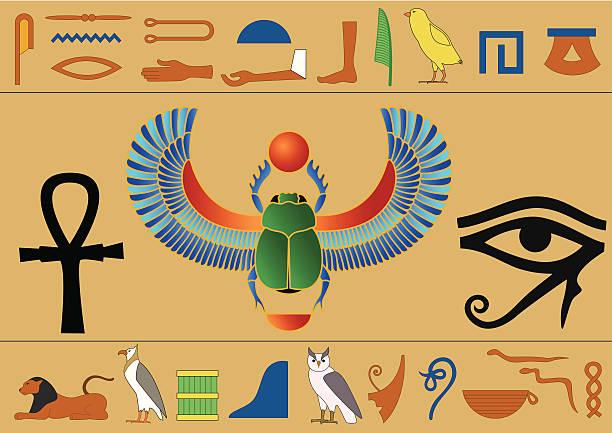 Egyptian hieroglyphics vector art illustration