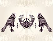 Egyptian Horus and Scarab stencil vector illustration for design