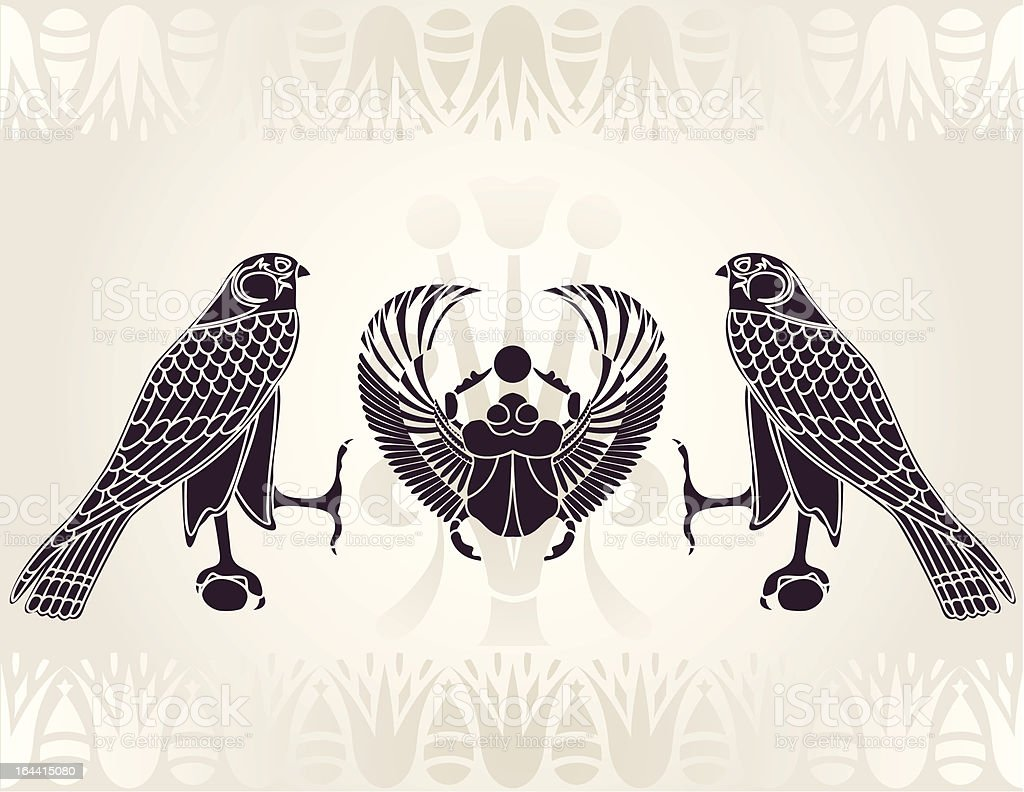 Egyptian Horus and Scarab stencil vector art illustration
