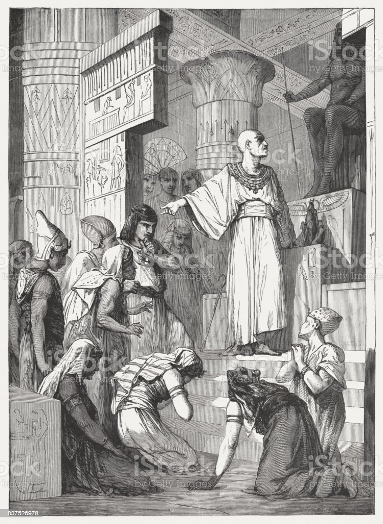 Egyptian idolatry (Isaiah 19, 3), wood engraving, published in 1886 vector art illustration