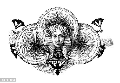 Illustration of a Egyptian man symbols