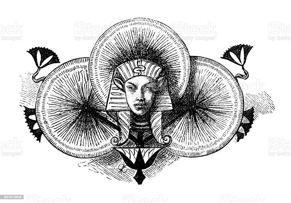 Egyptian king symbols vector art illustration