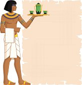 Illustration of Egyptian waiter holding salver with bottle of wine and two glass and a clear papyrus for your menu.