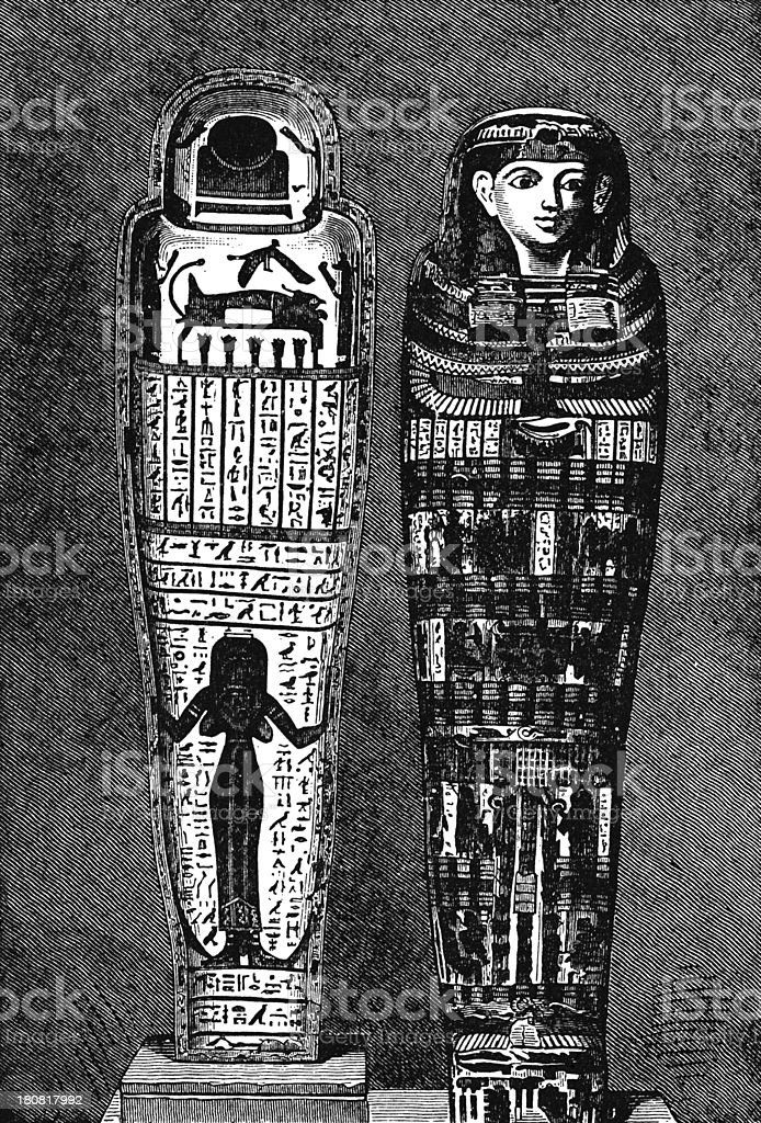 Egyptian mummy cases - Victorian illustration royalty-free stock vector art