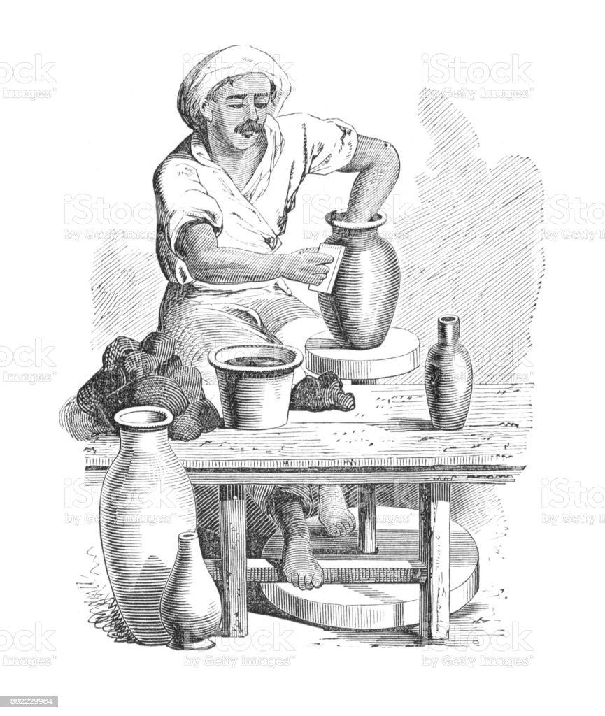 Potter egipcio y rueda hacer floreros - ilustración de arte vectorial