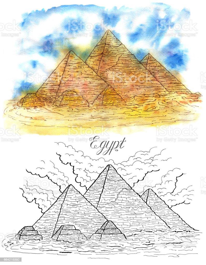 Giza Misir Piramitleri Stok Vektor Sanati Animasyon Karakter Nin