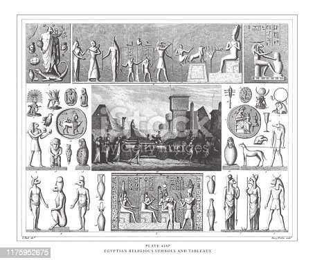 Egyptian Religious Symbols and Tableaux Engraving Antique Illustration, Published 1851. Source: Original edition from my own archives. Copyright has expired on this artwork. Digitally restored.