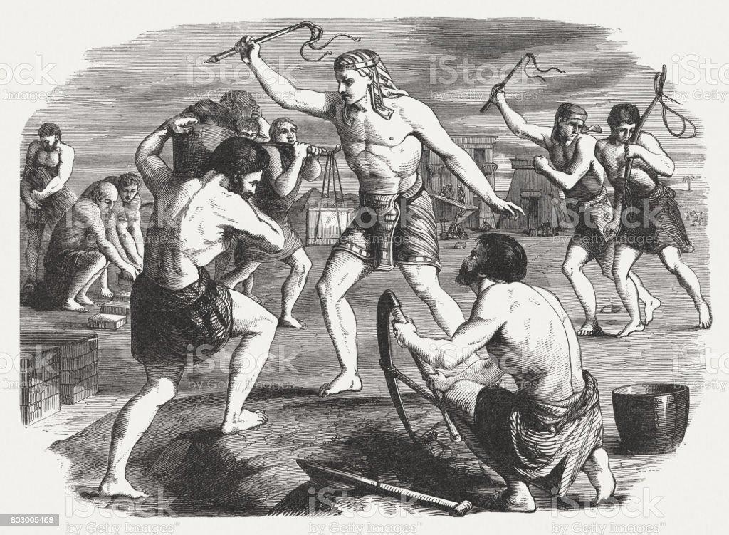 Egyptian slave overseers oppress the Israelites (Exodus 5), published 1886 vector art illustration