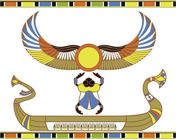 Egyptian sun boat with scarab vector art illustration