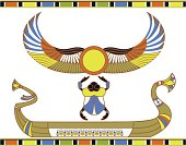 Egyptian sun boat with scarab