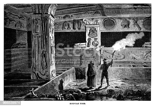 Egyptian Tomb - Scanned 1882 Engraving