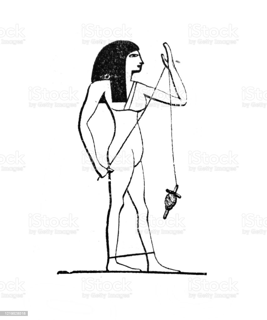 Egyptian With A Spinning Wheel In The Old Book The Antropology By E Tailor 1882 St Petersburg Stock Illustration Download Image Now Istock