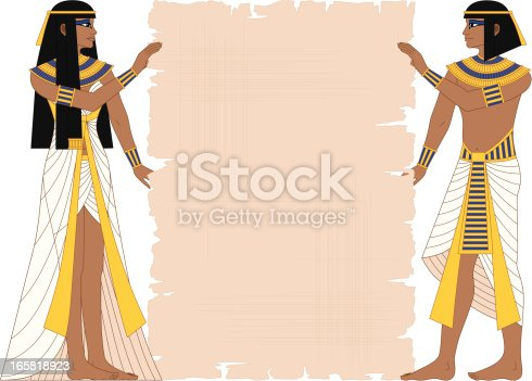 Vector illustration of Egyptian woman and man holding papyrus isolated on white.