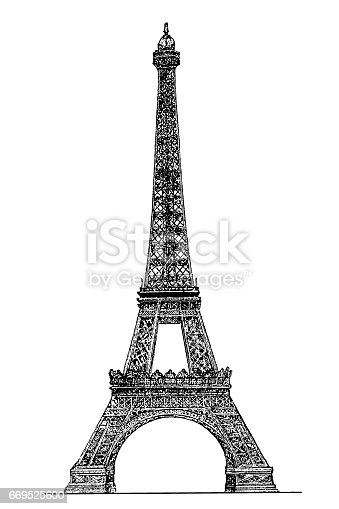 Illustration of a Eiffel tower engraving