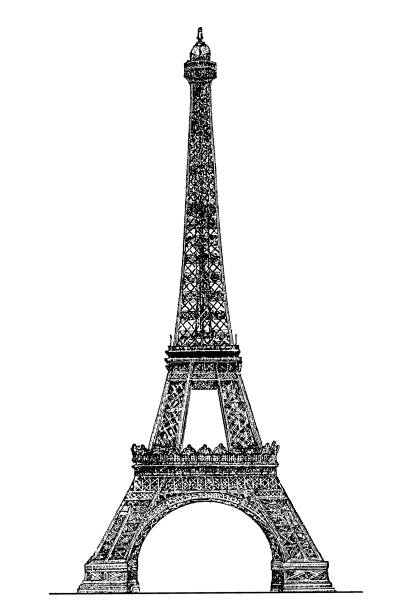 Eiffel tower engraving Illustration of a Eiffel tower engraving paris black and white stock illustrations