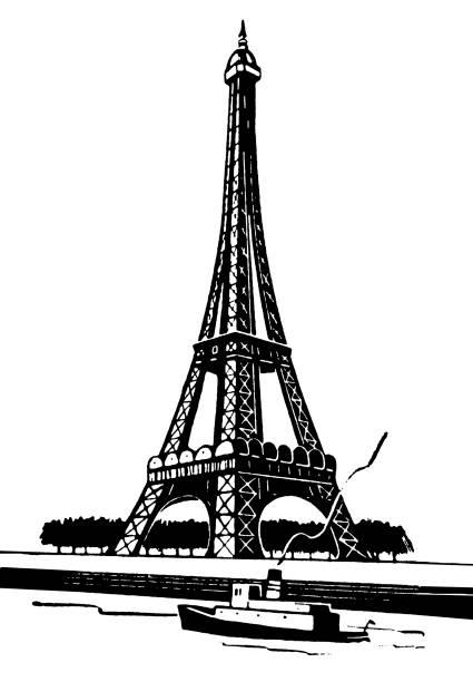 Eiffel Tower Eiffel Tower paris black and white stock illustrations