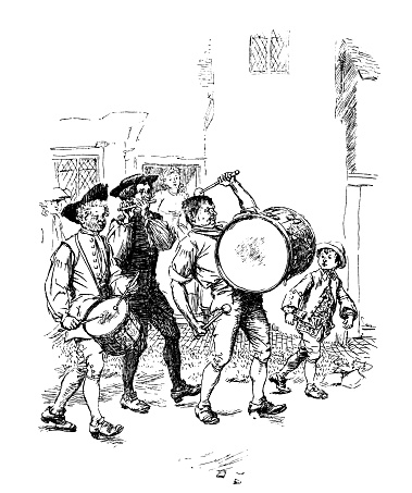 Eighteenth century band playing in the street