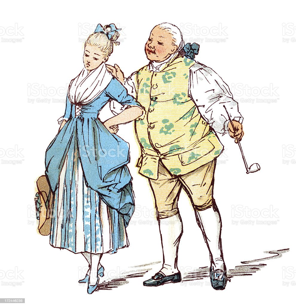 Eighteenth century man with a young woman royalty-free stock vector art