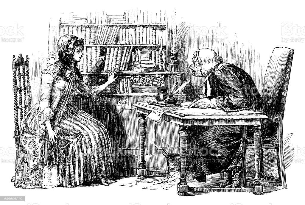 Mulher do século XVIII, consultar um advogado - ilustração de arte em vetor