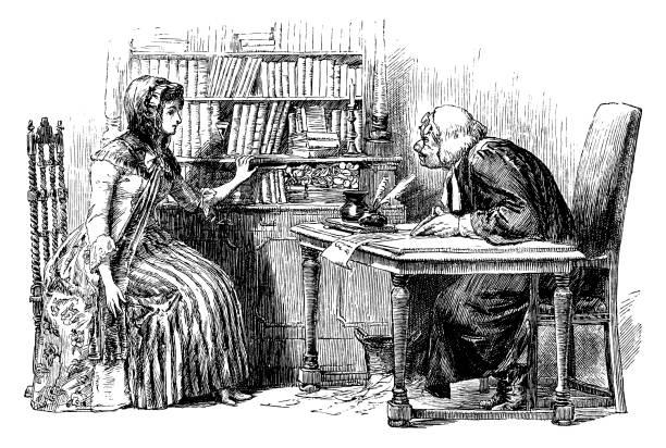 ilustrações, clipart, desenhos animados e ícones de mulher do século xviii, consultar um advogado - assistente jurídico