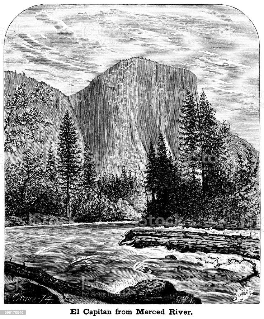 el capitan from merced river california stock vector art & more