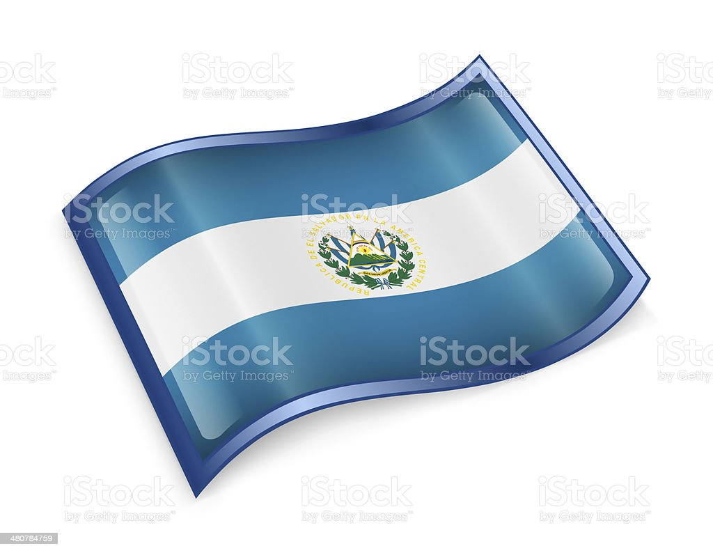 El Salvador Flag icon, isolated on white background. royalty-free stock vector art