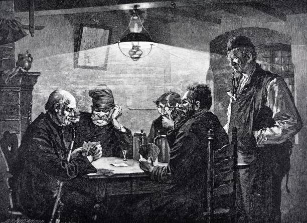 elder men sitting in restaurant playing cards - old man standing drawings stock illustrations, clip art, cartoons, & icons
