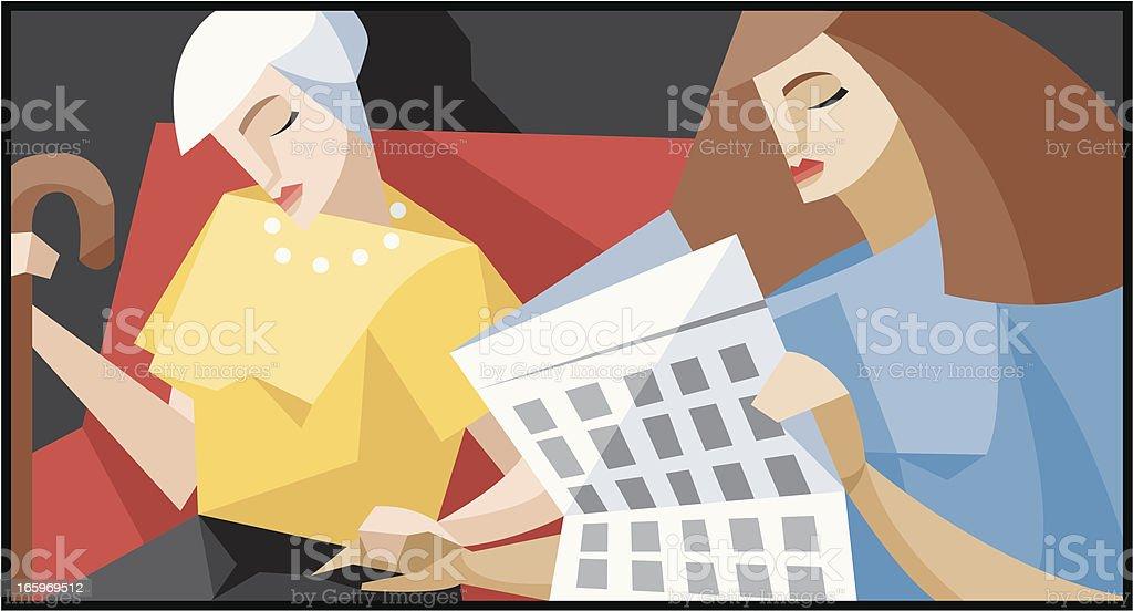 Elderly care givers vector art illustration