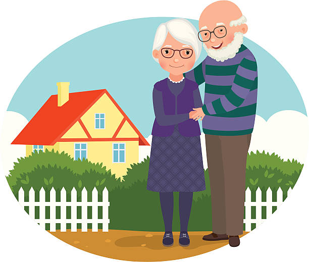 elderly couple at their home - old man smile cartoon stock illustrations, clip art, cartoons, & icons