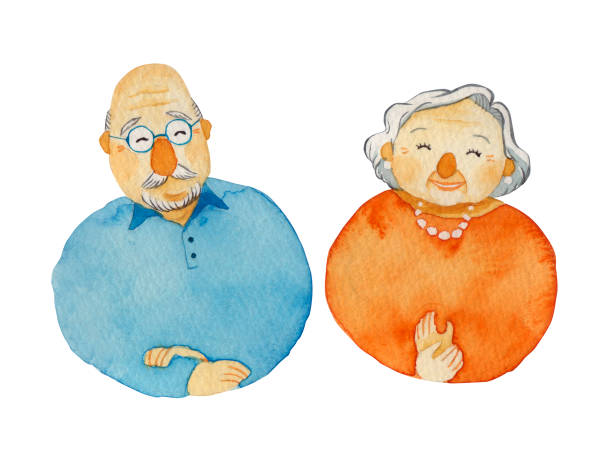 elderly couple - old man smiling silhouettes stock illustrations, clip art, cartoons, & icons