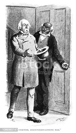 """An elderly man being admitted into a room, with his arm outstretched ready to shake hands. From """"The Humour of America - Selected, with an Introduction and index of American Humorists, by James Barr. Illustrations by C.E. Brock"""". Published in 1893 by Walter Scott Ltd, London."""