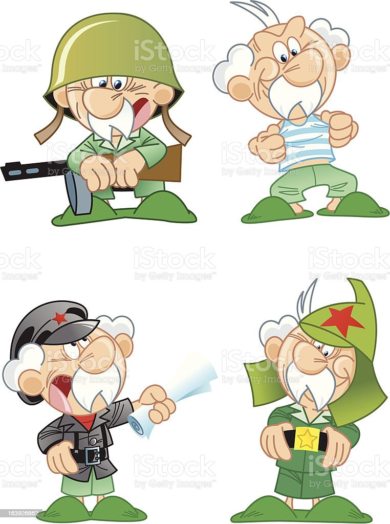 elderly men in military uniform royalty-free stock vector art