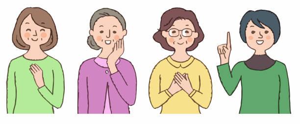 ilustrações de stock, clip art, desenhos animados e ícones de 3 elderly women - mão no peito