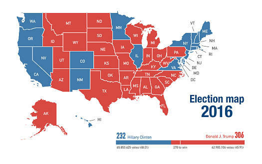 Electoral map of 2016 US elections