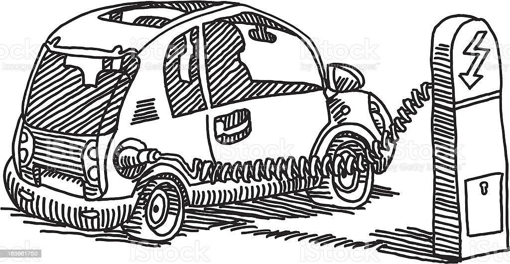 Electric Car Charging Station vector art illustration