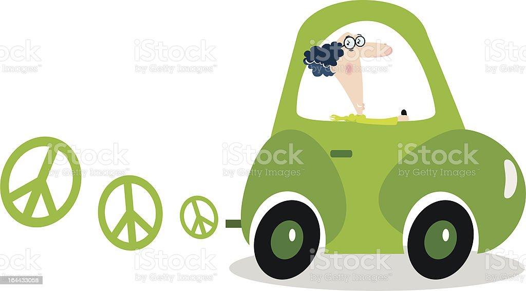 electric eco-friendly car vector art illustration