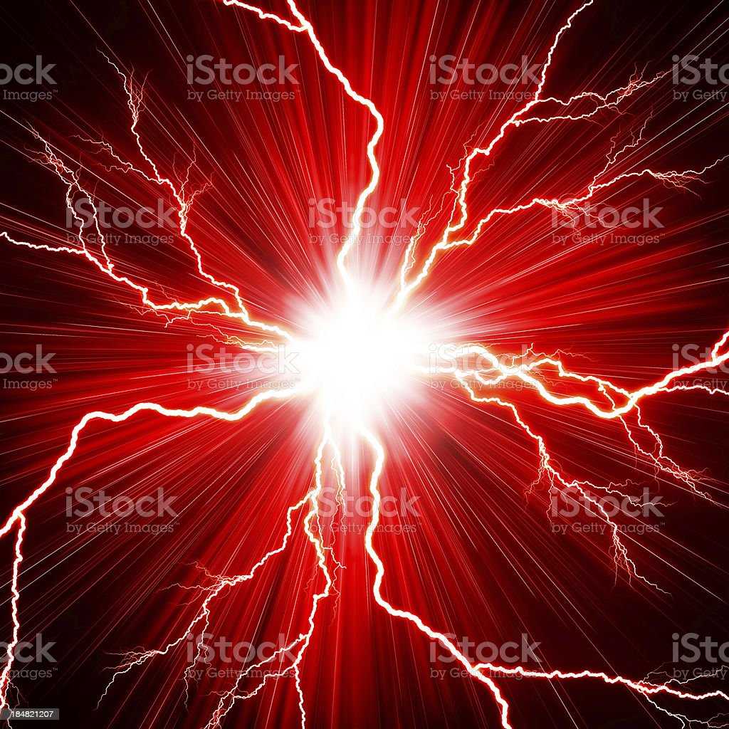 Electric flashes of lightning on a red background vector art illustration
