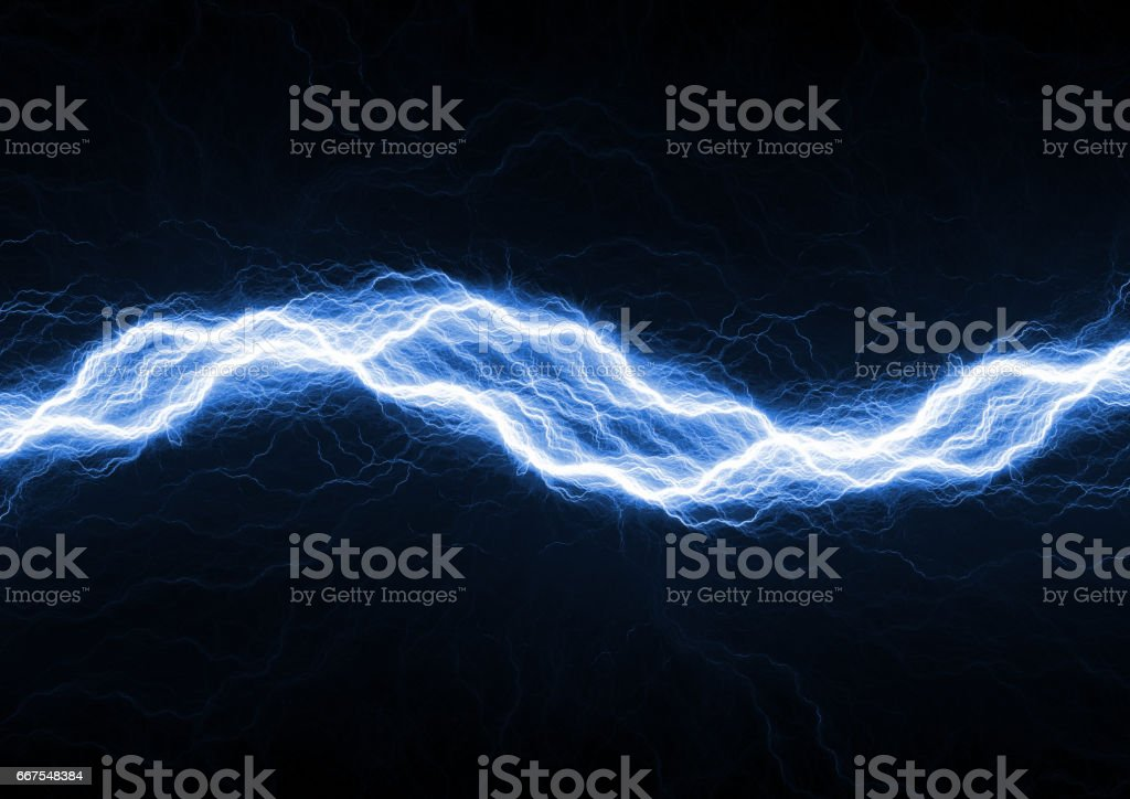 Electric lighting, abstract blue storm stock photo