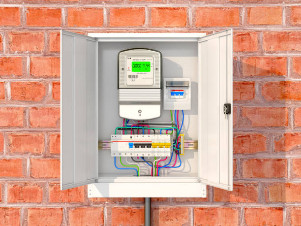 ilustraciones, imágenes clip art, dibujos animados e iconos de stock de contadores eléctricos con interruptores de circuito en una caja metálica. ilustración 3d - amperímetro