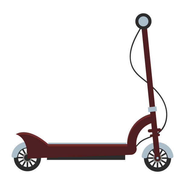 illustrazioni stock, clip art, cartoni animati e icone di tendenza di electric scooter isolated roller scooter. - monopattino elettrico