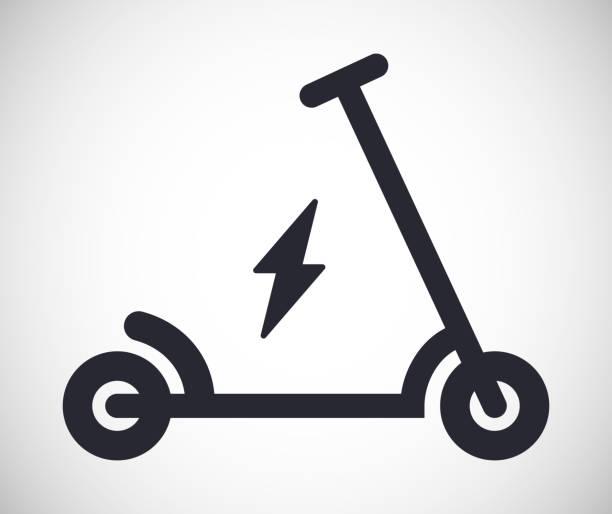 illustrazioni stock, clip art, cartoni animati e icone di tendenza di electric scooter vector illustration icon - monopattino elettrico
