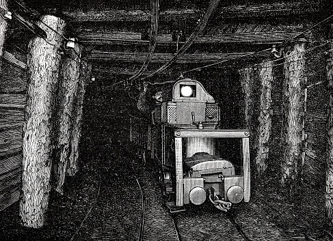Electric small locomotive in a mine