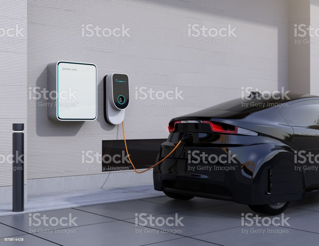 Electric vehicle charging station for home vector art illustration